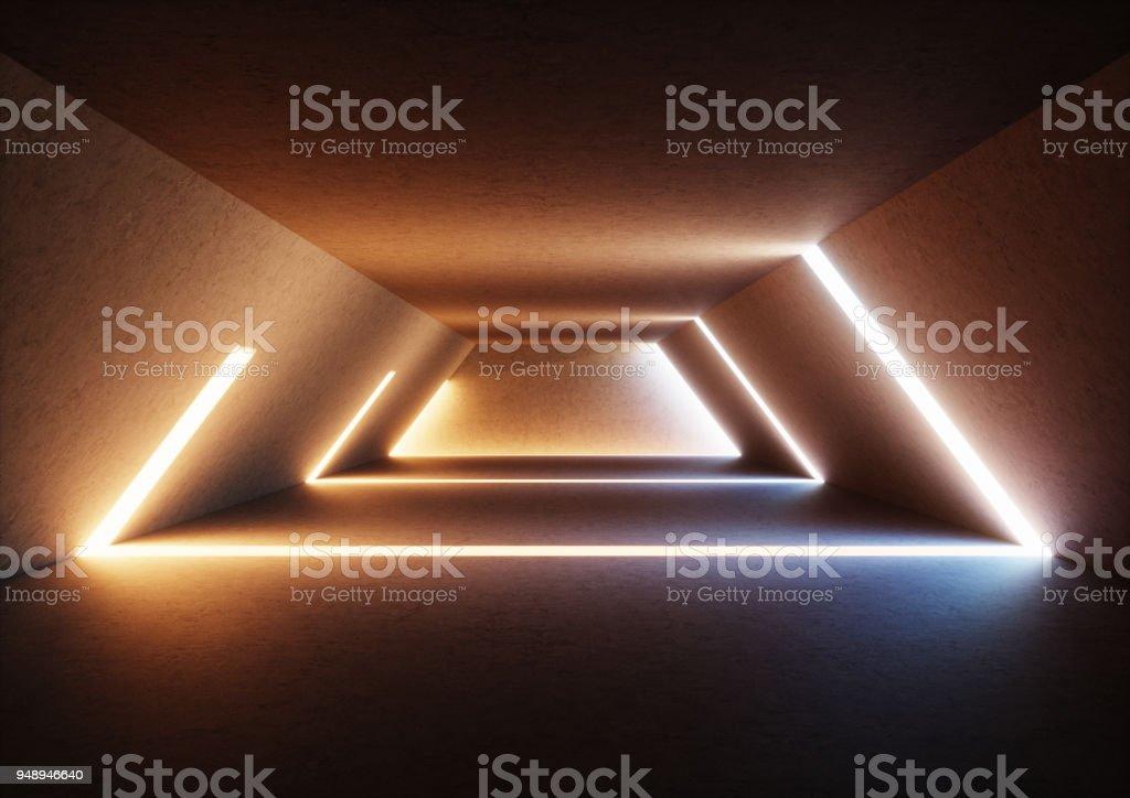 3d render abstrakten hintergrund große beleuchtete leeren flur
