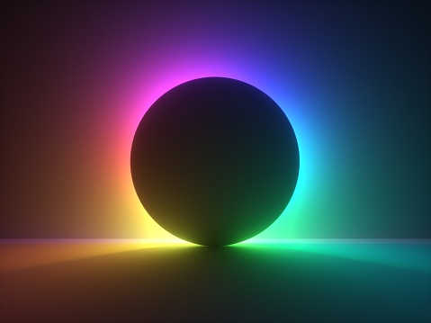 3d render, abstract background with colorful vibrant neon light behind the black ball. Eclipse concept.