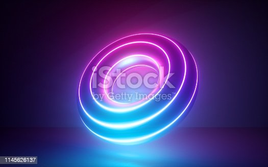 3d render, abstract background with glowing neon torus shape, rings, cosmic donut, laser show, esoteric energy, ultraviolet spectrum