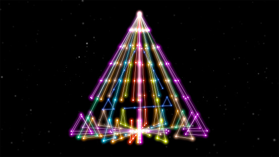 904312598 istock photo 3d render. Abstract background with neon lights triangles in different colors in alpha channel. 1211828572