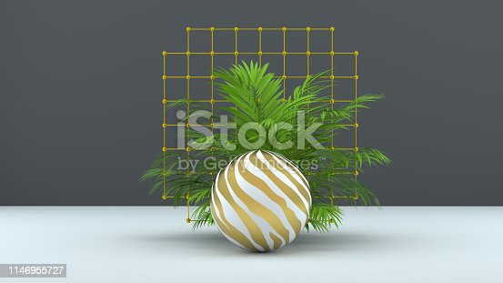 istock 3d render abstract background with palm leaves, sphere and golden grid. Modern minimal design. Trendy background for product design or text presentation. 1146955727