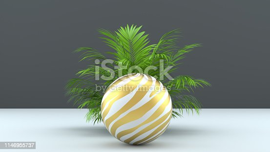 istock 3d render abstract background with palm leaves, sphere and golden grid. Modern minimal design. Trendy background for product design or text presentation. 1146955737
