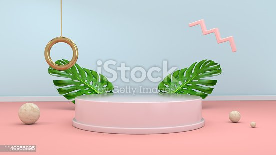 istock 3d render abstract background with podium, spheres, golden elements and palm leaves in minimal pink Memphis design style. 1146955695