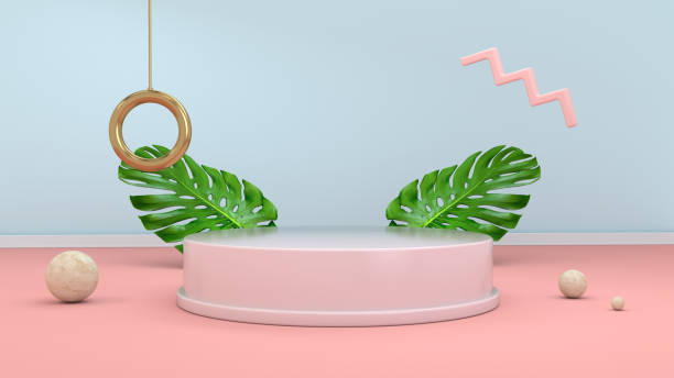 3d render abstract background with podium, spheres, golden elements and palm leaves in minimal pink Memphis design style. stock photo