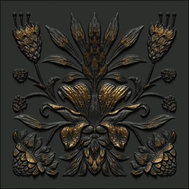 3d rendre, fond floral abstrait d'or noir de cru, modèle botanique médiéval, carrelage métallique forgé, ferronnerie antique, motif tropical de fleurs et de feuilles, ornement classique décoratif - damas en matière textile photos et images de collection