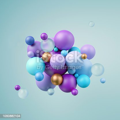istock 3d render, abstract blue violet balls, pastel balloons, geometric background, multicolored primitive shapes, minimalistic design, party decoration, plastic toys, isolated elements 1050882104