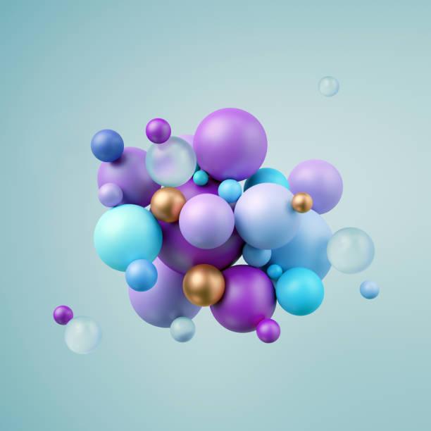 3d render, abstract blue violet balls, pastel balloons, geometric background, multicolored primitive shapes, minimalistic design, party decoration, plastic toys, isolated elements - balão enfeite imagens e fotografias de stock