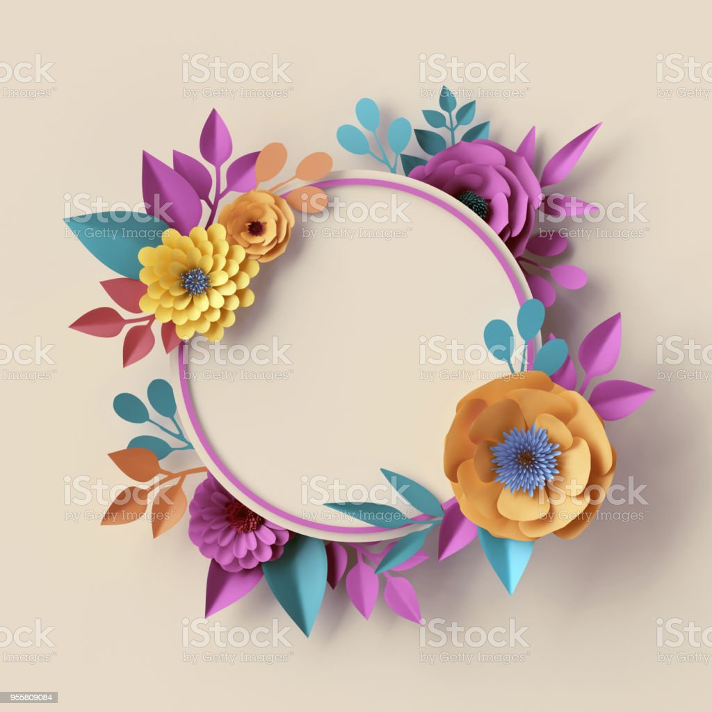 3d Render Abstract Botanical Wreath Round Frame Pastel Paper Flowers