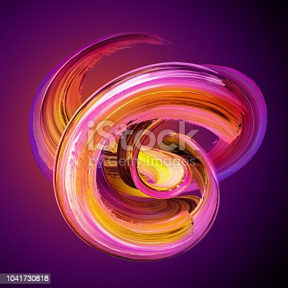 921375446istockphoto 3d render, abstract brush stroke, artistic smear, bright paint smear, splash, splatter, colorful curl, spiral, yellow red vortex, vivid ribbon on purple background 1041730818