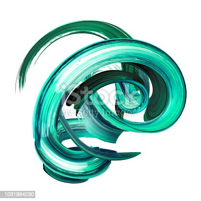 921375446istockphoto 3d render, abstract brush stroke, artistic smear, green paint splash, twisted splatter, colorful curl, spiral, vortex, vivid ribbon, clip art design element isolated on white 1031994230