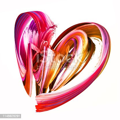 istock 3d render, abstract brush stroke, creative smear clip art, paint splash, heart shape splatter, colorful curl, artistic ribbon, isolated on white background 1145625291