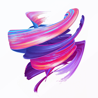 istock 3d render, abstract brush stroke, creative smear clip art, paint splash, dynamic splatter, colorful curl, artistic ribbon, isolated on white background 1145625303