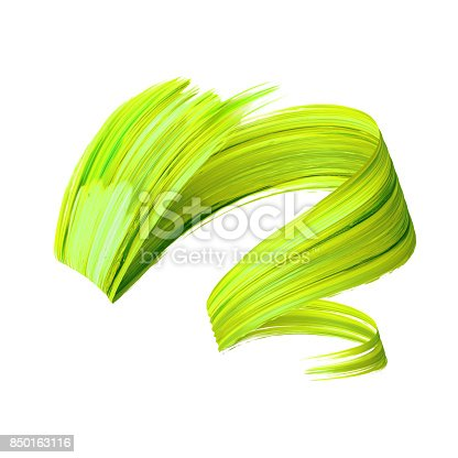 istock 3d render, abstract brush stroke, paint splash, splatter, colorful curl, artistic spiral, vivid ribbon 850163116