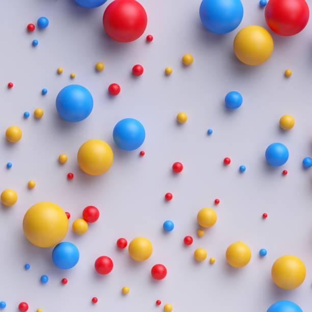 3d render, abstrakten bunten kugeln, perlen, bonbons, tabletten, rot blau gelb mischfarben, isoliert auf weißem hintergrund - spielplatz design stock-fotos und bilder