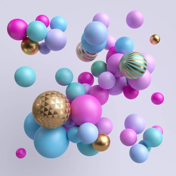 3d render, abstract colorful balls, blue violet pink gold pastel balloons, geometric background, multicolored primitive shapes, minimalistic design, party decoration, plastic toys, isolated elements - balão enfeite imagens e fotografias de stock