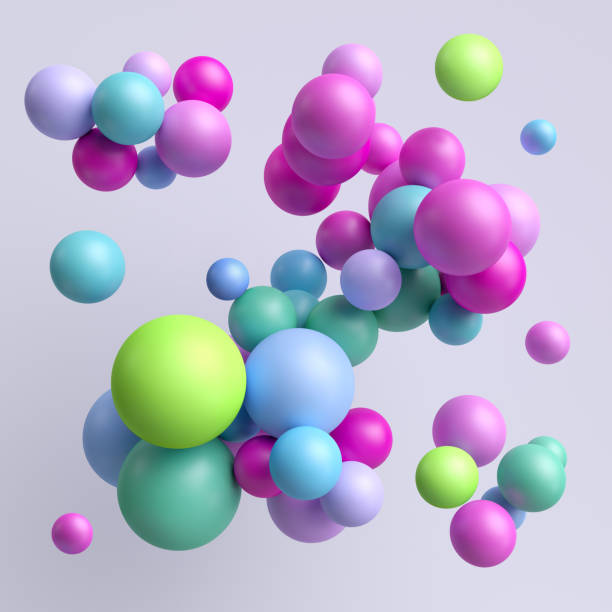 3d render, abstract colorful balls, pink blue green pastel balloons, geometric background, multicolored primitive shapes, minimalistic design, party decoration, plastic toys, isolated elements - balão enfeite imagens e fotografias de stock