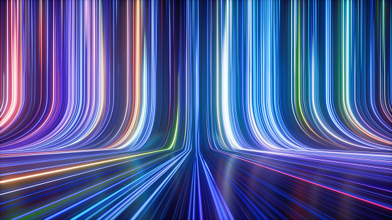 3d render, abstract colorful neon background, ultra violet rays, glowing lines, speed of light.