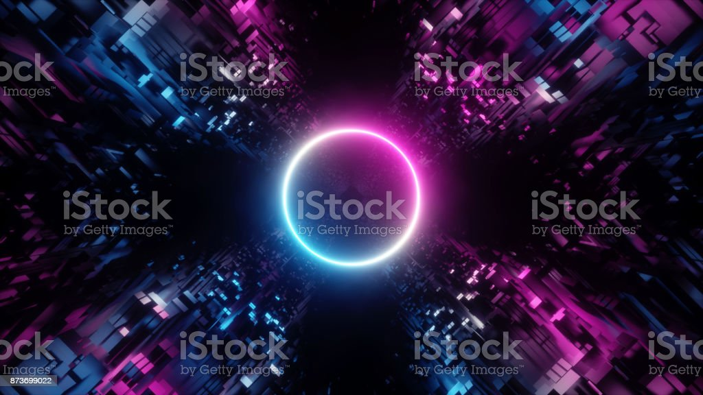 3d render, abstract digital background, big data, quantum computer network, cyber safety stock photo