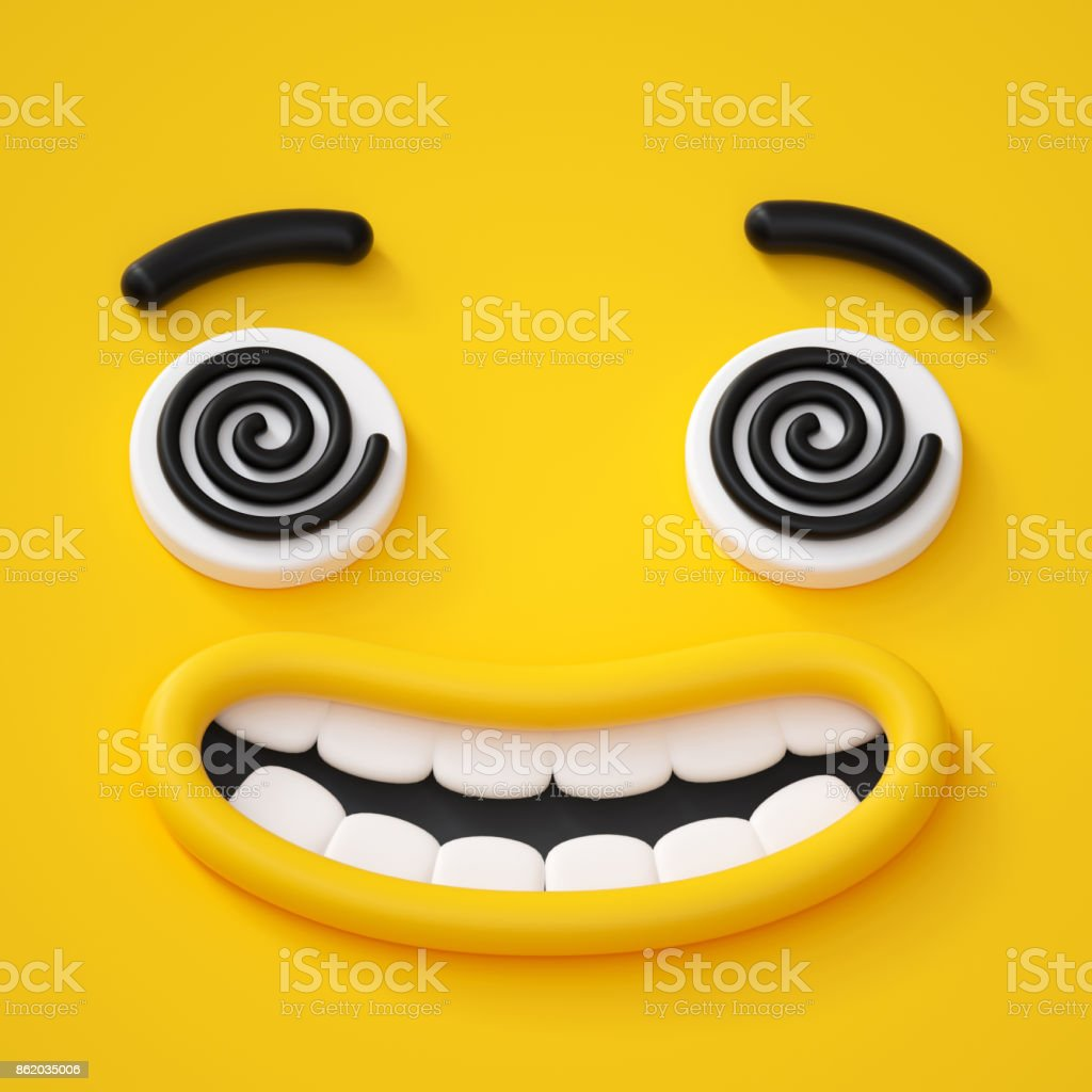 3d render, abstract emotional crazy face icon, hypnotic eyes, hypnotized character illustration, cute cartoon monster, emoji, emoticon, toy stock photo