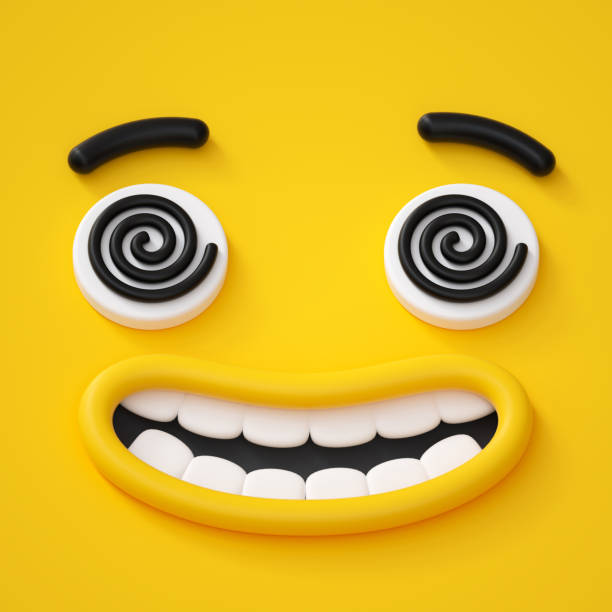 3d render, abstract emotional crazy face icon, hypnotic eyes, hypnotized character illustration, cute cartoon monster, emoji, emoticon, toy - excited emoji stock photos and pictures