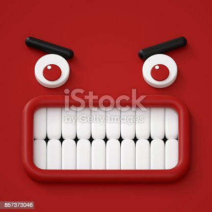 istock 3d render, abstract emotional face icon, angry character going mad illustration, cute cartoon monster, emoji, emoticon, toy 857373046