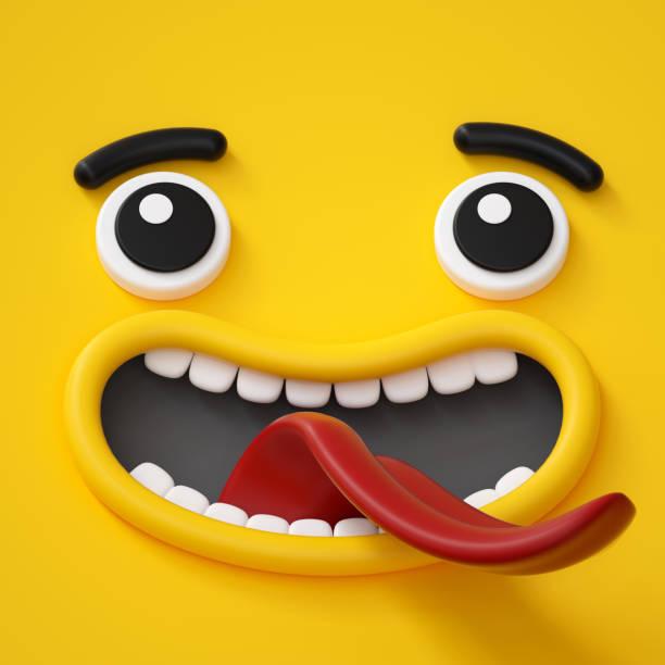 3d render, abstrakte emotionale gesichtssymbol, aufgeregt charakter illustration, niedlichen cartoon monster, emoji, emoticons, spielzeug - lustige augenbrauen stock-fotos und bilder