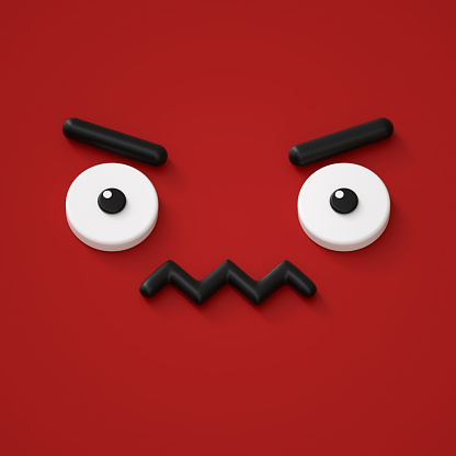 istock 3d render, abstract emotional face icon, grumpy character illustration, cute cartoon monster, emoji, emoticon, toy 857373096