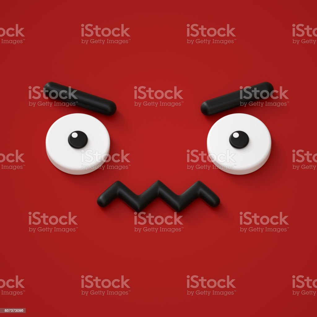 3d render, abstract emotional face icon, grumpy character illustration, cute cartoon monster, emoji, emoticon, toy stock photo