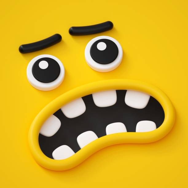 3d render, abstract emotional face icon, scared character illustration, cute cartoon monster, emoji, emoticon, toy, angry mask - sad cartoon images stock photos and pictures