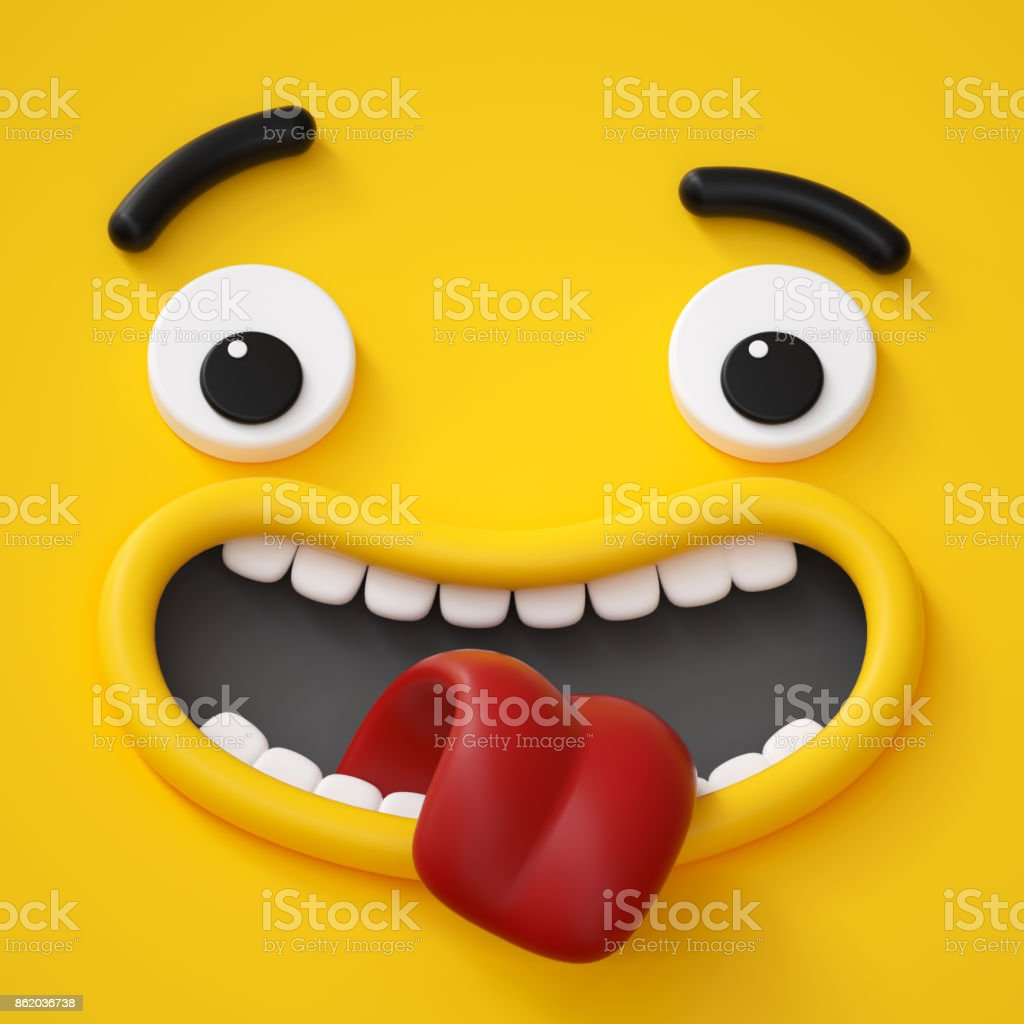 3d render, abstract emotional face icon, wondering character illustration, awaiting, cute cartoon monster, emoji, emoticon, toy stock photo