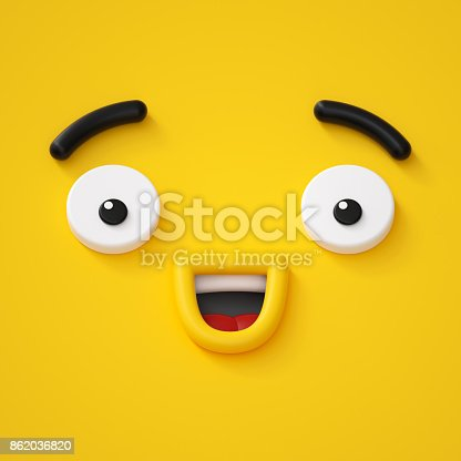istock 3d render, abstract emotional happy face icon, wondering character illustration, cute cartoon monster, emoji, emoticon, toy 862036820