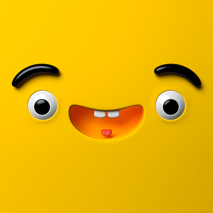istock 3d render, abstract emotional happy face icon, wondering character illustration, cute cartoon monster, emoji, emoticon, toy 935212226