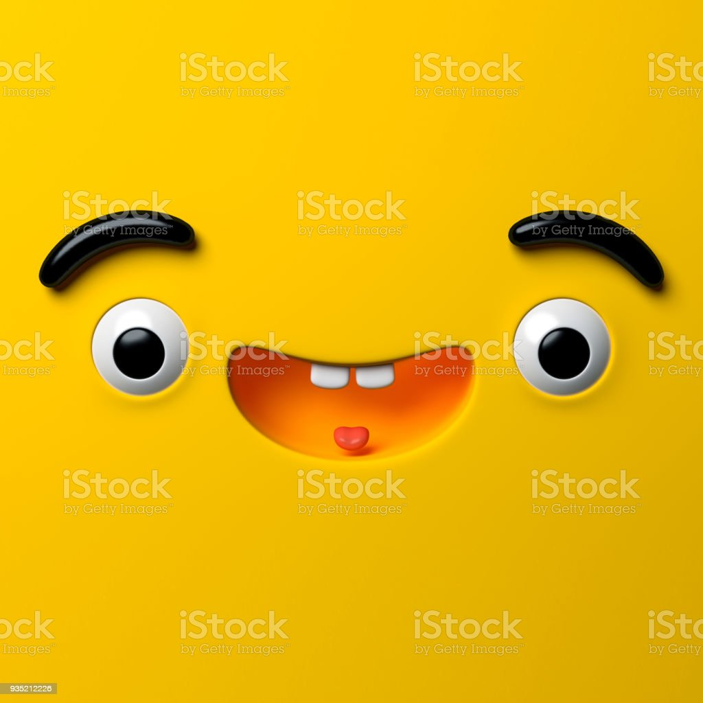 3d render, abstract emotional happy face icon, wondering character illustration, cute cartoon monster, emoji, emoticon, toy stock photo