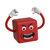 3d render, abstract emotional red face icon, aggressive emoticon clip art isolated on white background. Angry cartoon character illustration, mad monster hands up, square emoji, crazy cubic toy