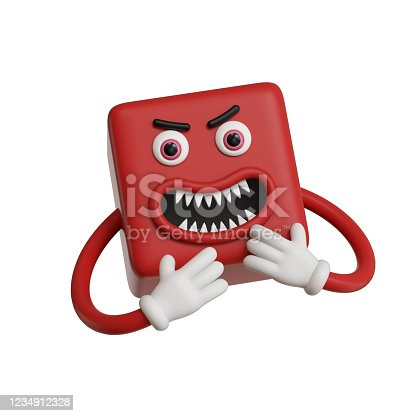 3d render, abstract emotional red face icon, aggressive emoticon clip art isolated on white background. Angry cartoon character illustration, mad monster, square emoji, silly cubic toy