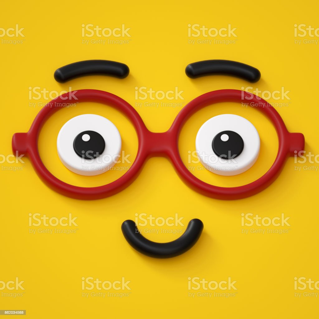 3d render, abstract emotional smart face icon, wearing glasses, friendly character illustration, cute cartoon monster, emoji, emoticon, toy stock photo