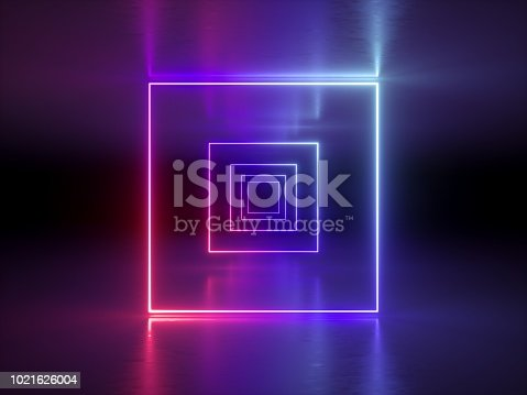 1058076636 istock photo 3d render, abstract fashion background, glowing lines, violet neon lights, ultraviolet neon square portal, tunnel, corridor, virtual reality, arch, pink blue vibrant colors, laser show 1021626004
