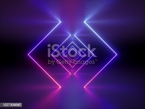 1058076636 istock photo 3d render, abstract fashion background, glowing lines, violet neon lights, ultraviolet neon square portal, tunnel, corridor, virtual reality, arch, pink blue vibrant colors, laser show 1027306582