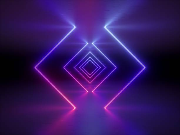 3d render, abstract fashion background, glowing lines, violet neon lights, ultraviolet neon square portal, tunnel, corridor, virtual reality, arch, pink blue vibrant colors, laser show stock photo
