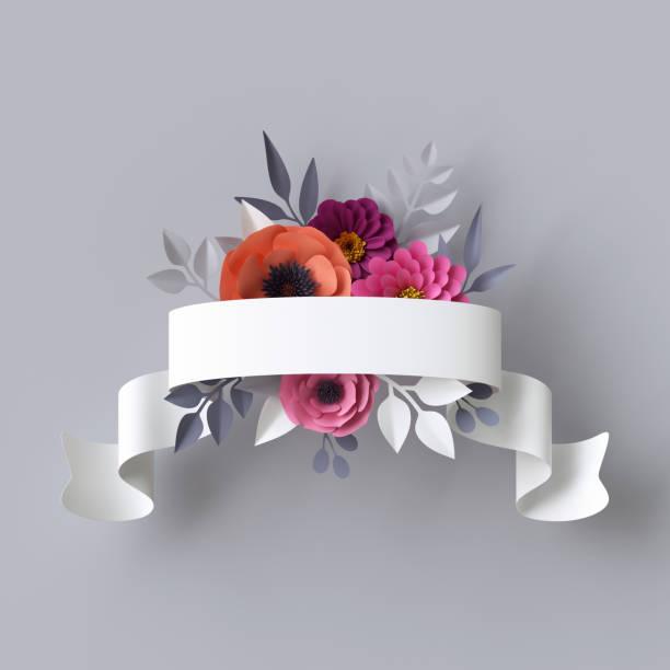 3d render, abstract festliche ribbon tag, papierblumen, white-label, floraler hintergrund, leere kartenvorlage - heiratssprüche stock-fotos und bilder