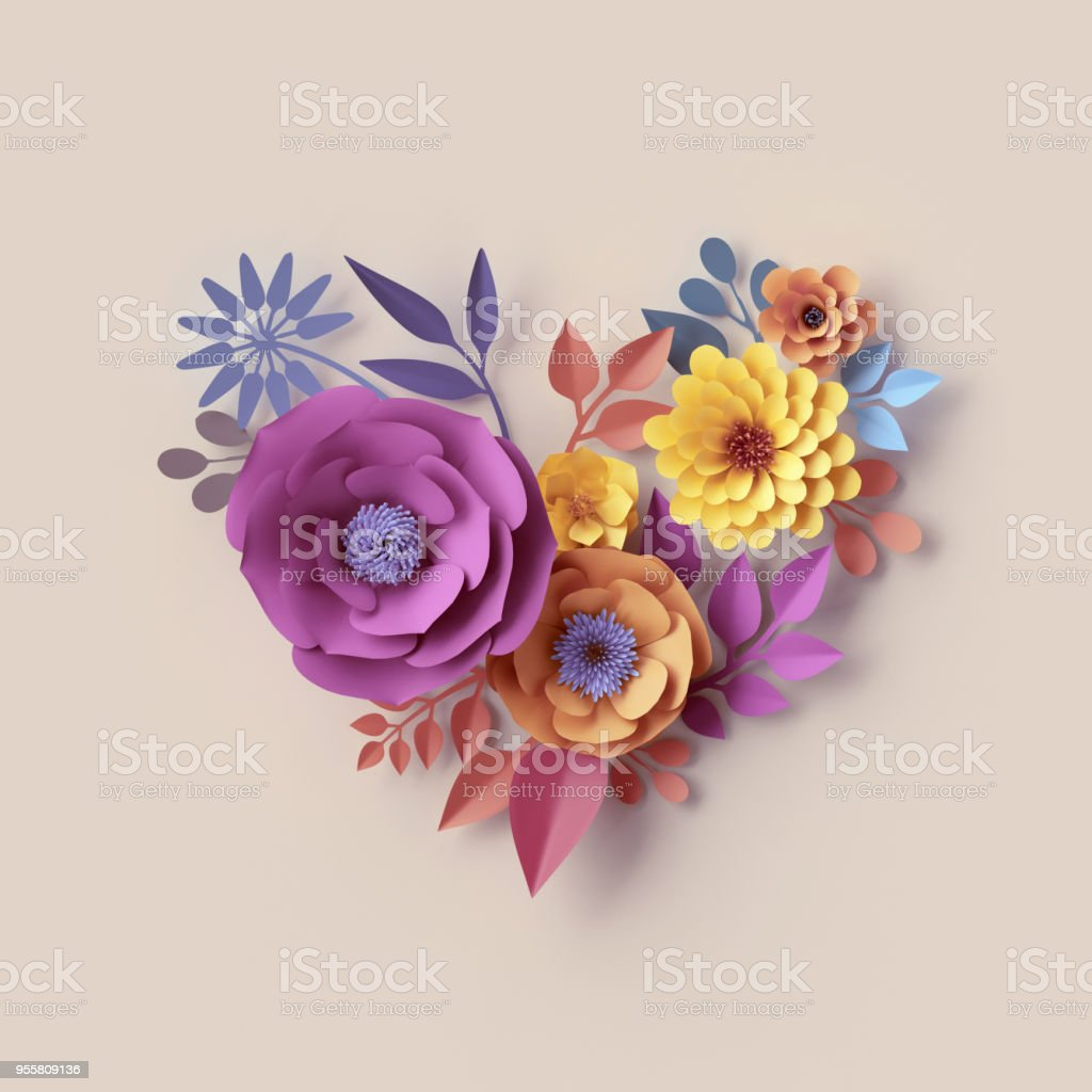 3d Render Abstract Floral Heart Shape Pastel Paper Flowers Quilling