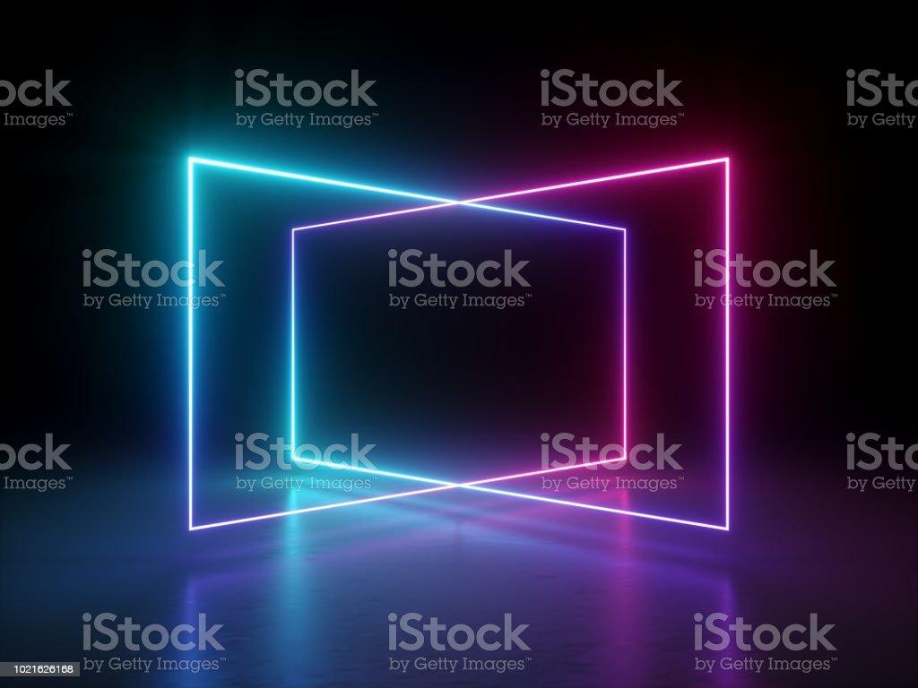 3d 渲染, 抽象螢光背景, 鐳射顯示, 夜總會內燈, 粉紅色藍發光線, 虛擬實境, 迷幻光譜, 幾何形狀 - 免版稅互聯網圖庫照片