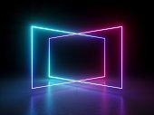istock 3d render, abstract fluorescent background, laser show, night club interior lights, pink blue glowing lines, virtual reality, psychedelic spectrum, geometric shapes 1021626168
