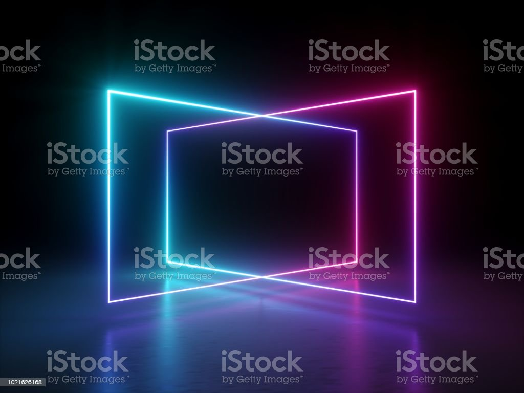 3d render, abstract fluorescent background, laser show, night club interior lights, pink blue glowing lines, virtual reality, psychedelic spectrum, geometric shapes stock photo