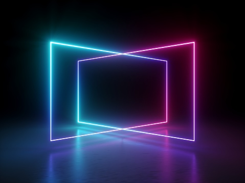 3d 渲染 抽象螢光背景 鐳射顯示 夜總會內燈 粉紅色藍發光線 虛擬實境 迷幻光譜 幾何形狀 照片檔及更多 互聯網 照片