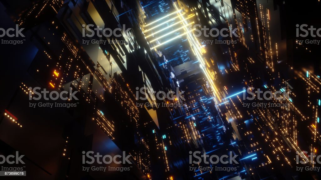 3d render, abstract futuristic urban background, night city, neon lights, virtual reality, cyber safety, electronics, networking, cryptography, quantum computer stock photo