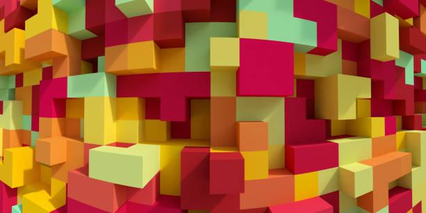 3d render, abstrakten geometrischen hintergrund, bunte konstruktor, logikspiel, kubische mosaik, isometrische tapete, bunte struktur, würfel - spielplatz design stock-fotos und bilder