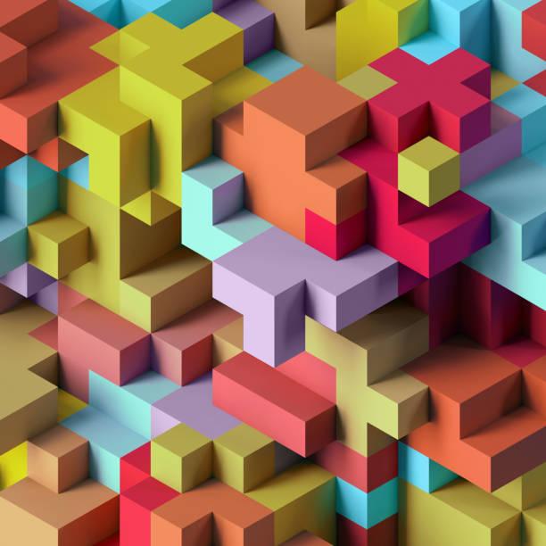 render 3D, fondo geométrico abstracto, colorido constructor, juego de lógica, mosaico cúbico, wallpaper isométrica, colorida estructura, cubos - foto de stock
