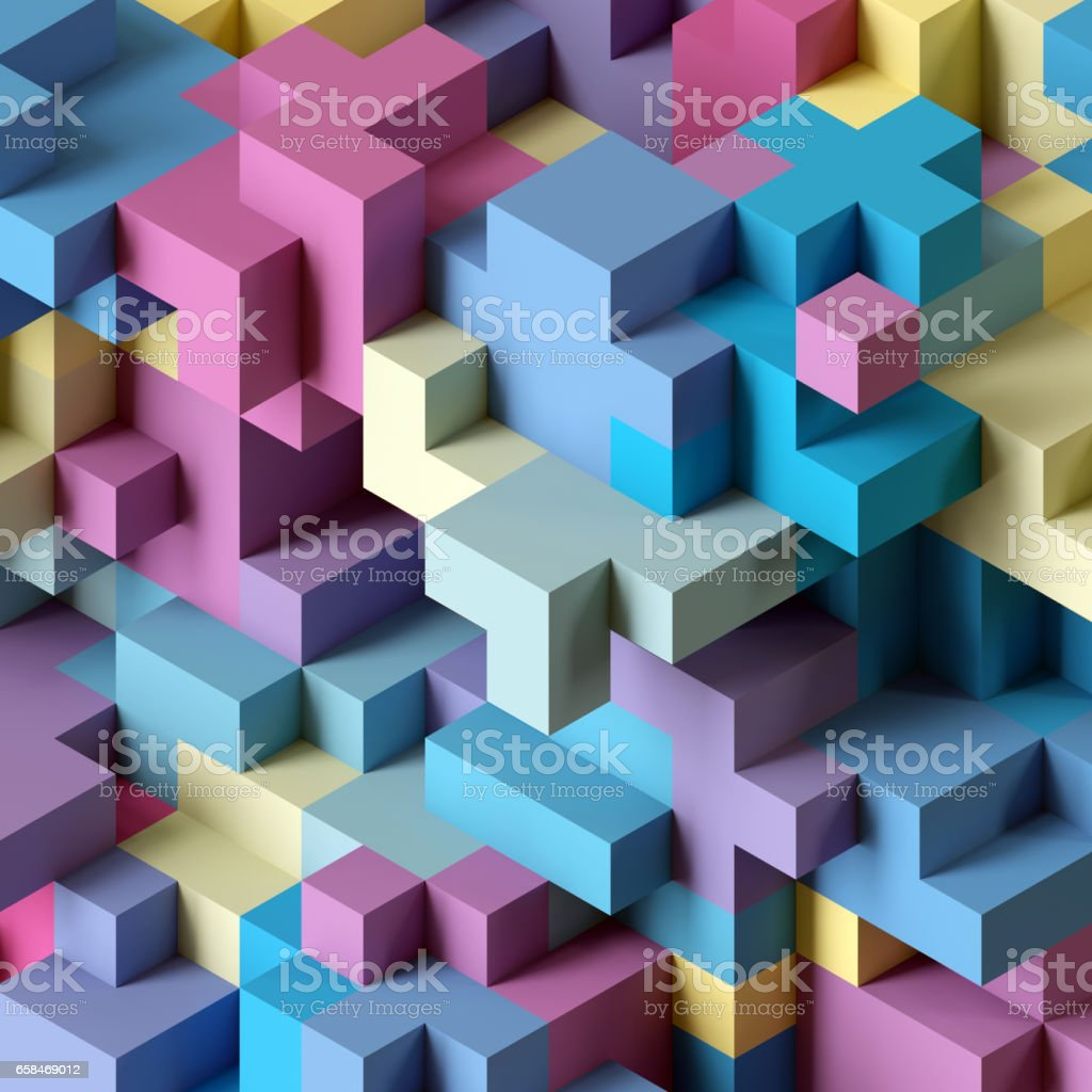 3d Render Abstract Geometric Background Colorful Constructor