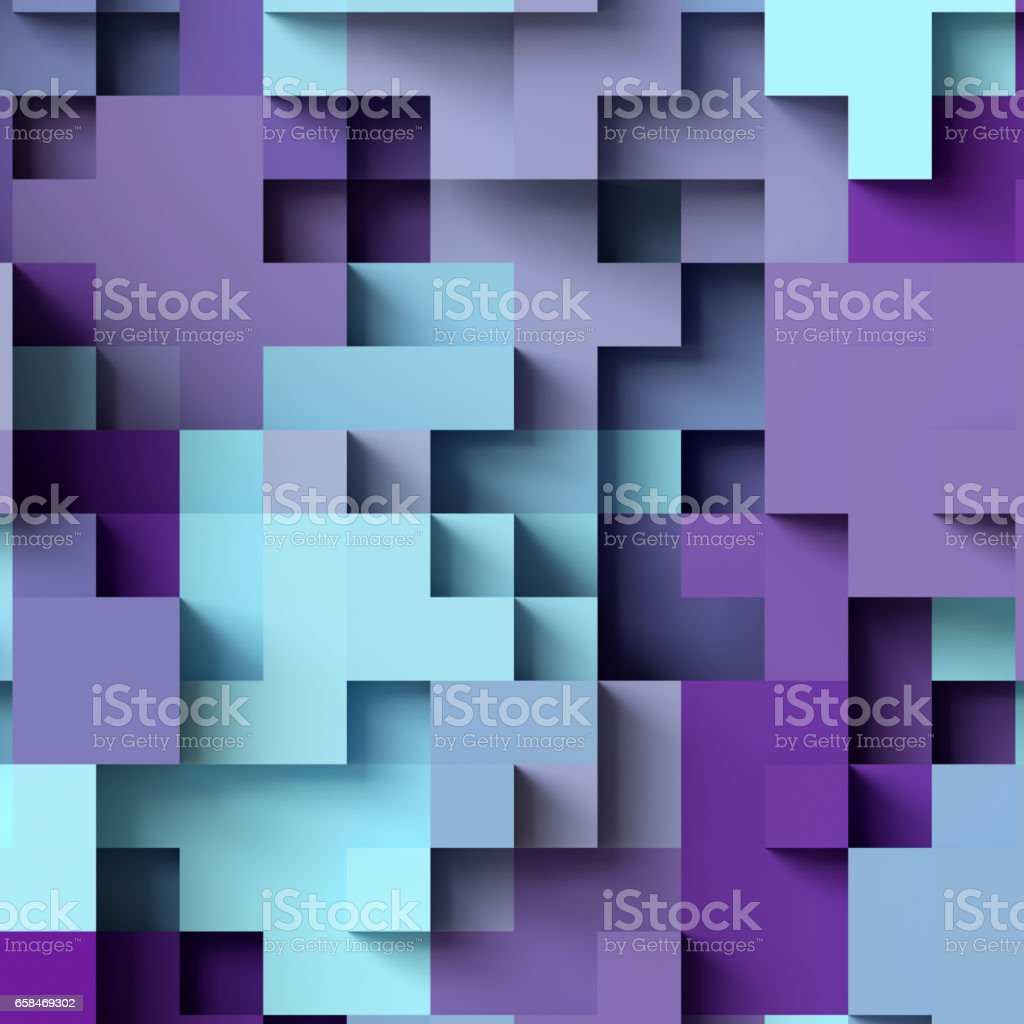 3d render, abstract geometric background, colorful constructor, logic game, cubic mosaic, isometric wallpaper, purple structure, cubes stock photo